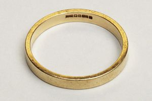 Nine carat gold ring, close up.