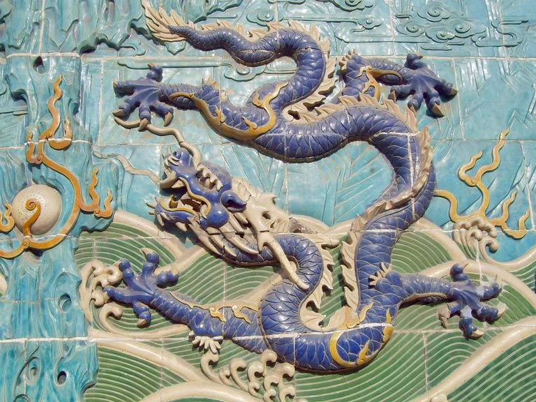 A Chinese sculpture of a dragon