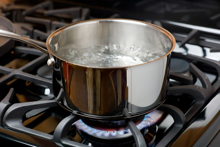 Boiling water in a pot on the stove