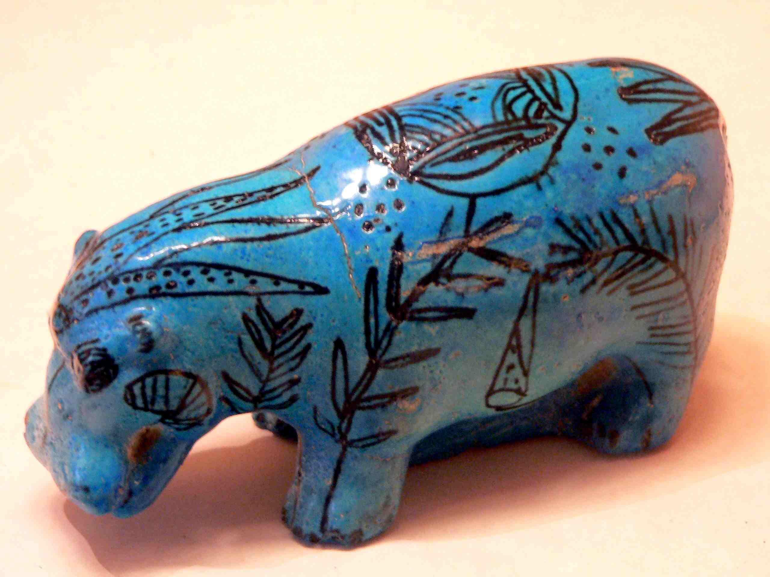 Faience Hippopotamus, Middle Kingdom Egypt, Louvre Museum