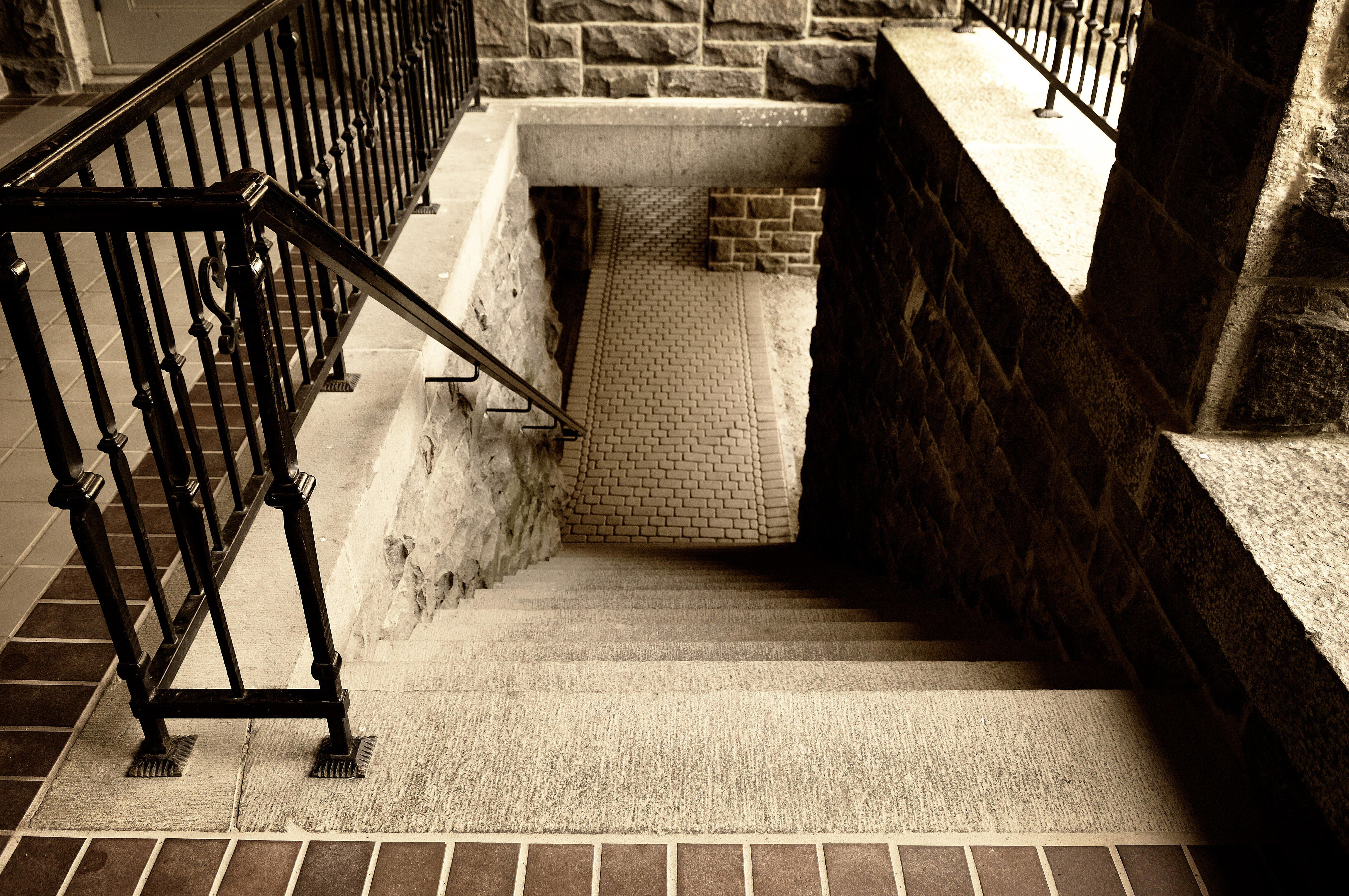 Stairs at Boldt Castle in upstate N.Y. lead to long, echoey corridors