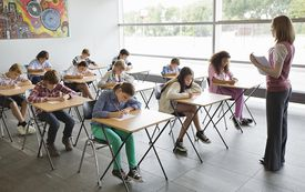 Students taking a test in classroom