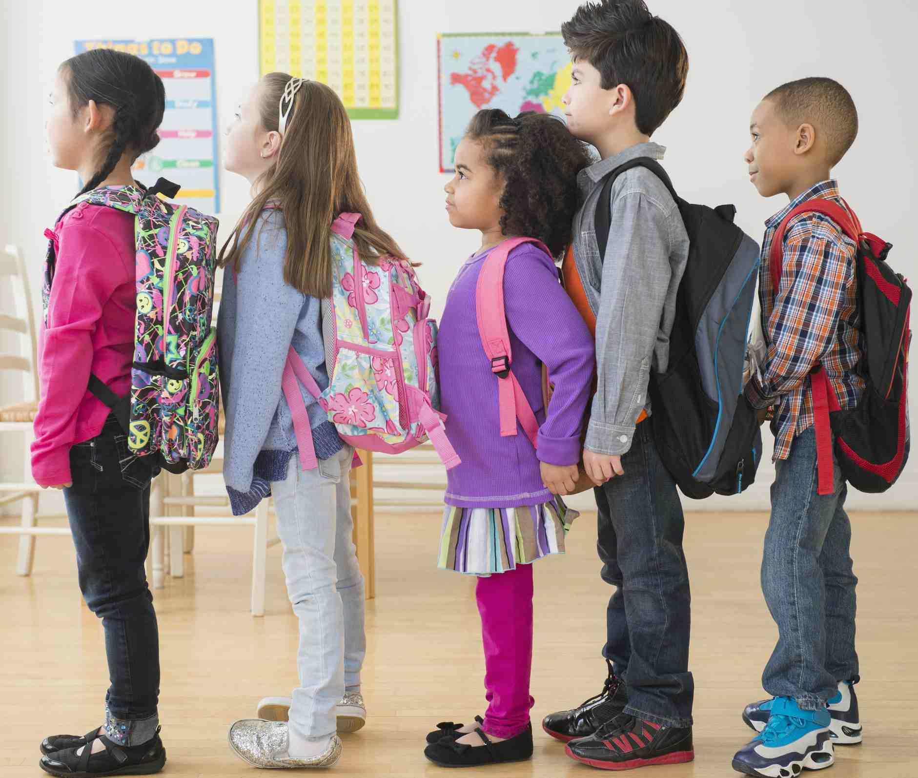 Kids standing in line