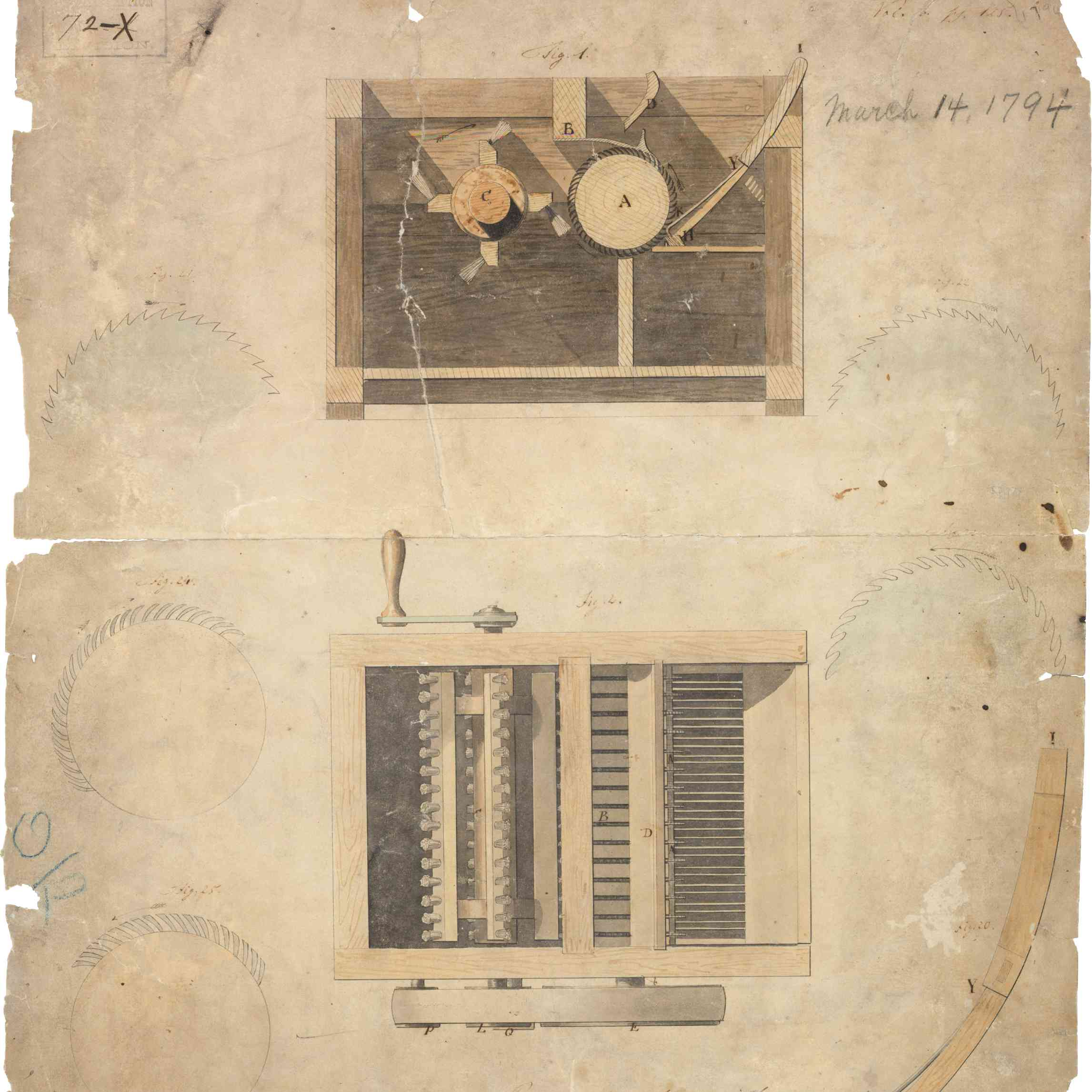 Eli Whitney's original patent for the cotton gin, dated March 14, 1794.