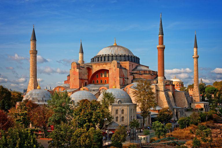 Hagia Sophia in Istanbul, Turkey on a sunny day.