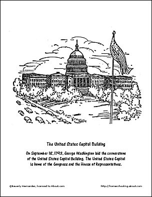 The United States Capitol Building Coloring Page