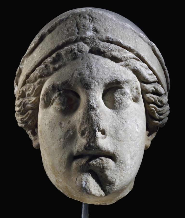 Colossal marble head of Athena