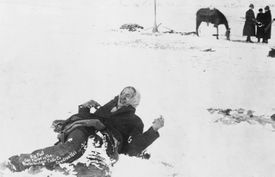 Photograph of corpse of Big Foot following Wounded Knee Massacre