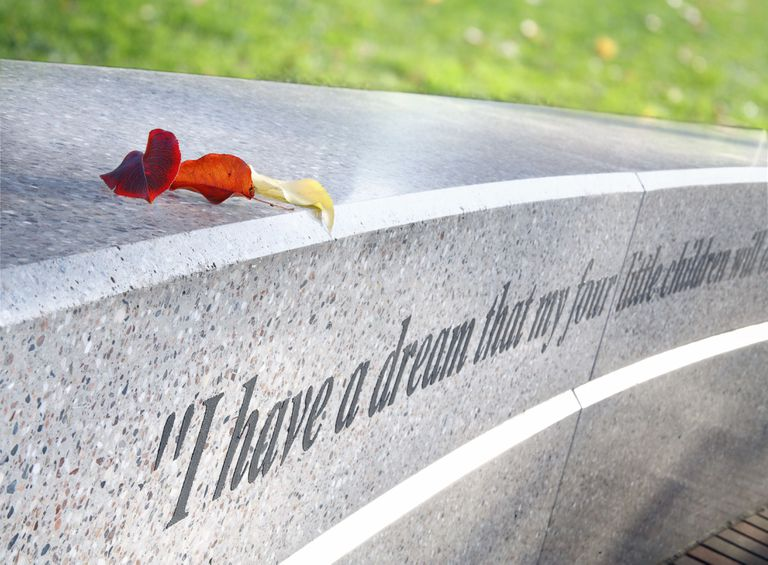 """I have a dream"" quotation inscribed on a memorial"