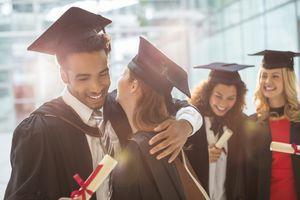 Graduates celebrating in formalwear