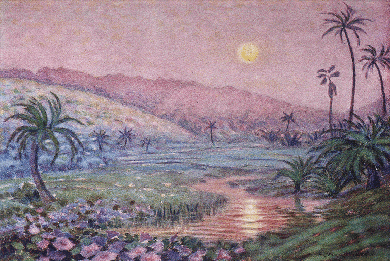 C.1929, Anna Woodward art, HI, early moonrise over lush valley at base of mountain Credit: Legacy Archive Hawaiian