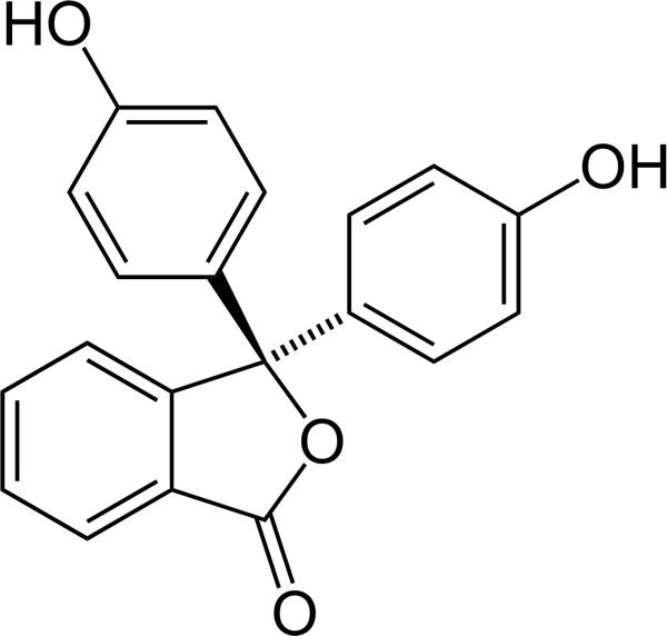 The chemical structure of phenolphthalein.