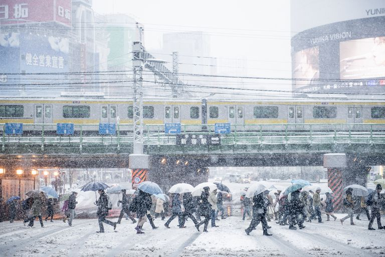 Snowy city in Japan
