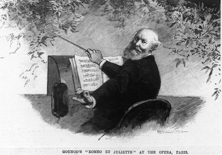 Illustrated portrait of Charles Gounod conducting with caption 'GOUNOD'S ROMEO ET JULIETTE AT THE OPERA, PARIS', circa 1880s.