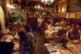 Dining in a restaurant in Trastevere in Rome