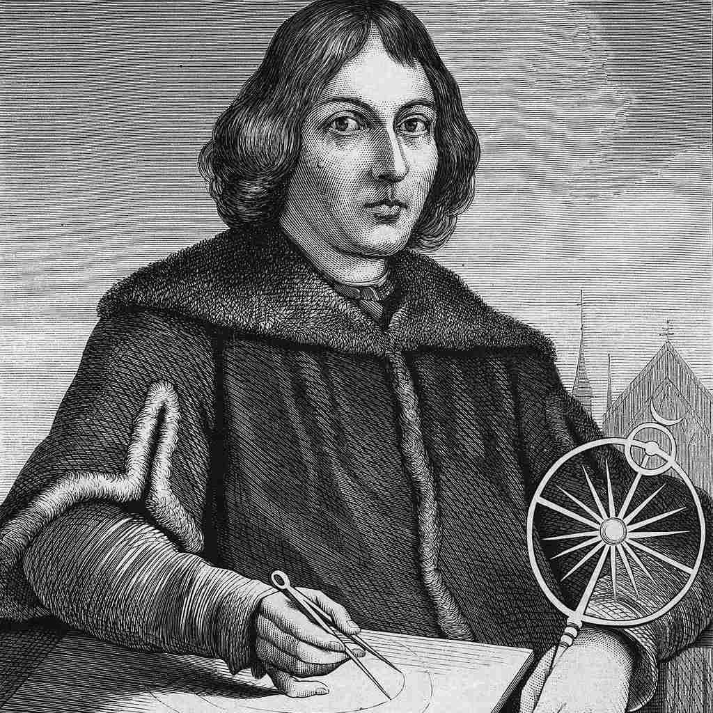 Ink portrait of Copernicus.
