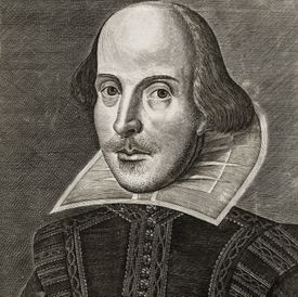Black and white drawing of William Shakespeare.