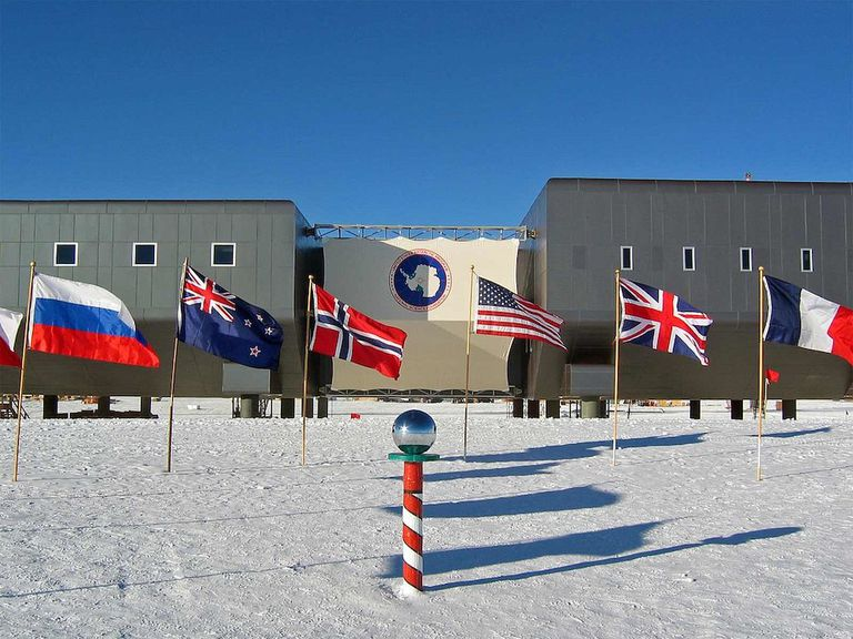 The ceremonial South Pole at 90ºS in Antarctica