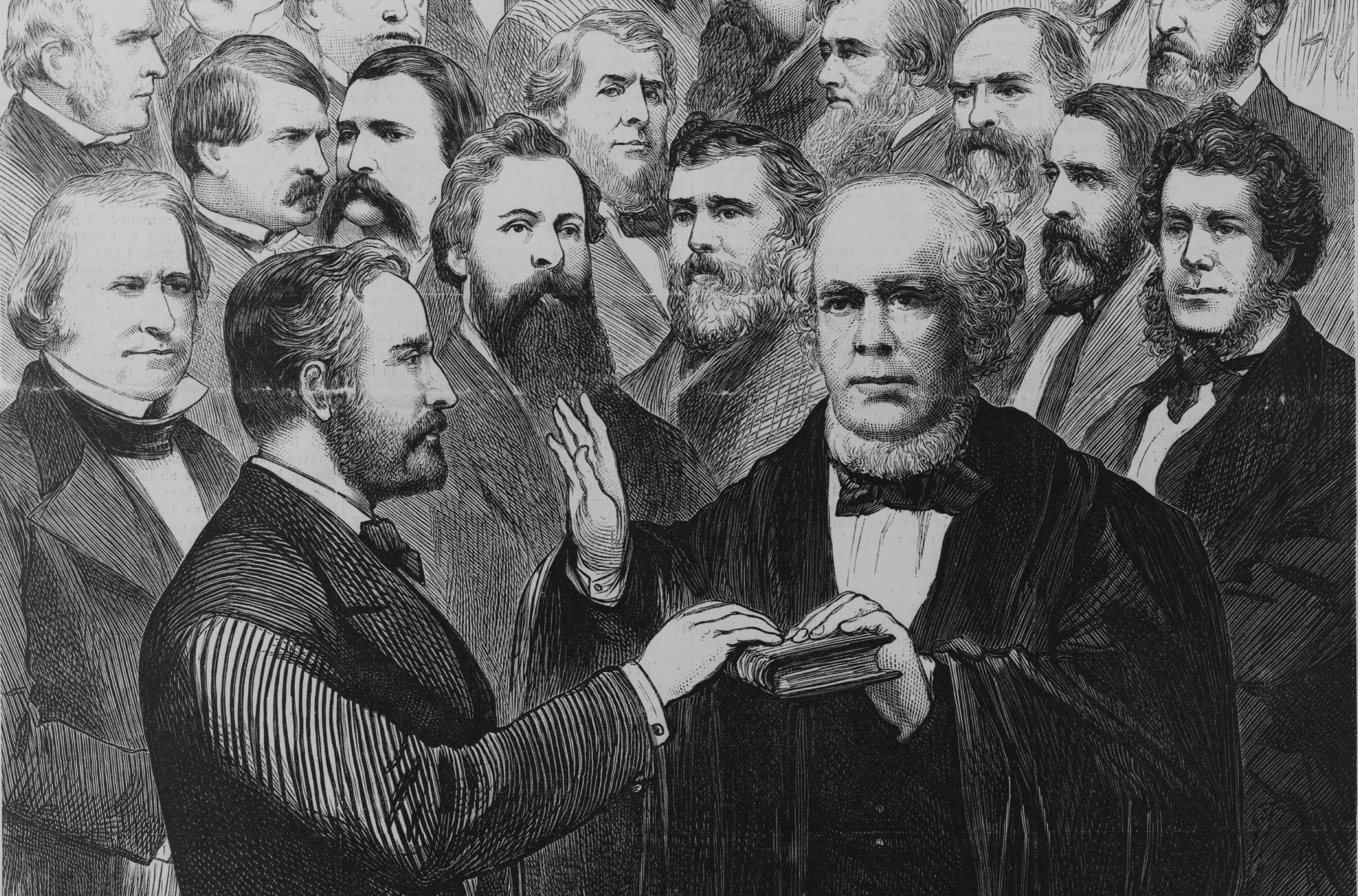 Chief Justice administers oath of office to Ulysses S. Grant.