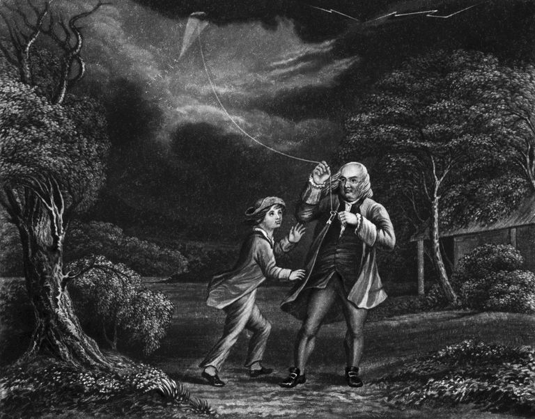 Benjamin Franklin Flying Kite in Storm