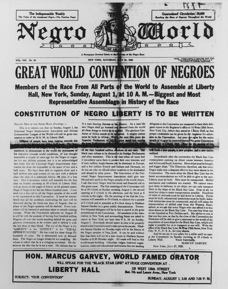 Front page of the Negro World newspaper.