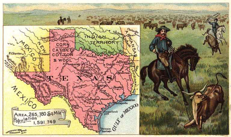 Old map showing Texas and surrounding territories
