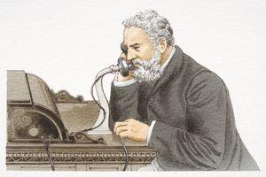 Alexander Graham Bell speaking 1876 Bell telephone, side view.
