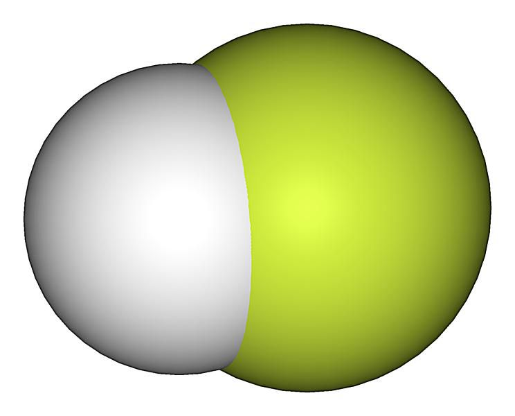This is the space-filling structure of hydrogen fluoride or hydrofluoric acid.