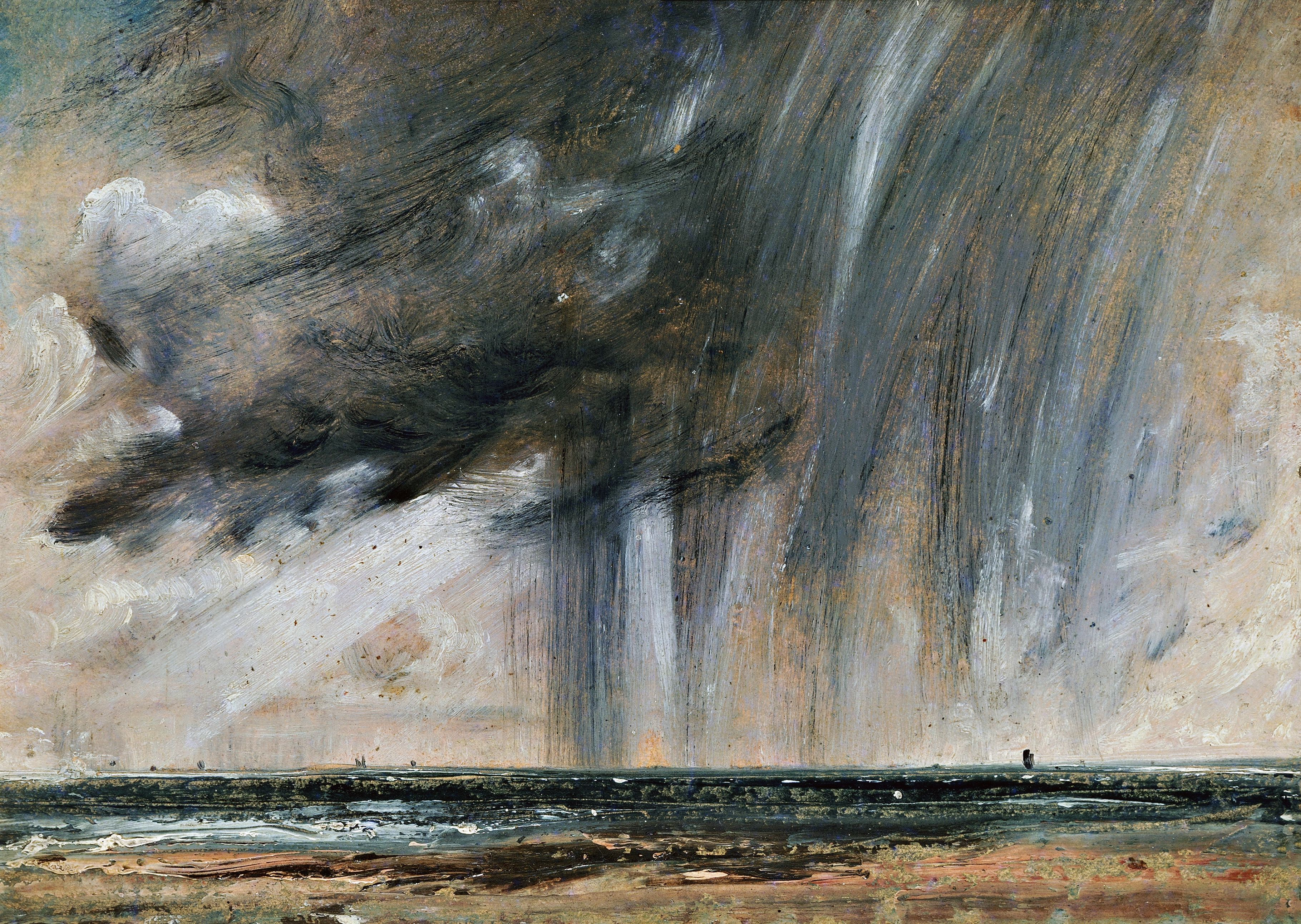 Rainstorm over the sea, seascape study with rainclouds, ca 1824-1828, by John Constable (1776-1837), oil on paper laid on canvas, 22.2x31 cm