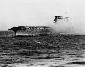 Crew of U.S.S. Lexington Abandoning Ship