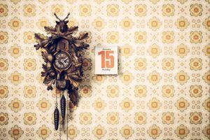 Cuckoo clock and calendar on the wall.