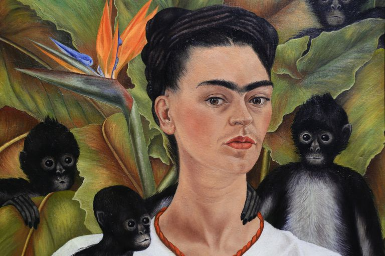 Painting of Frida Kahlo with three monkeys