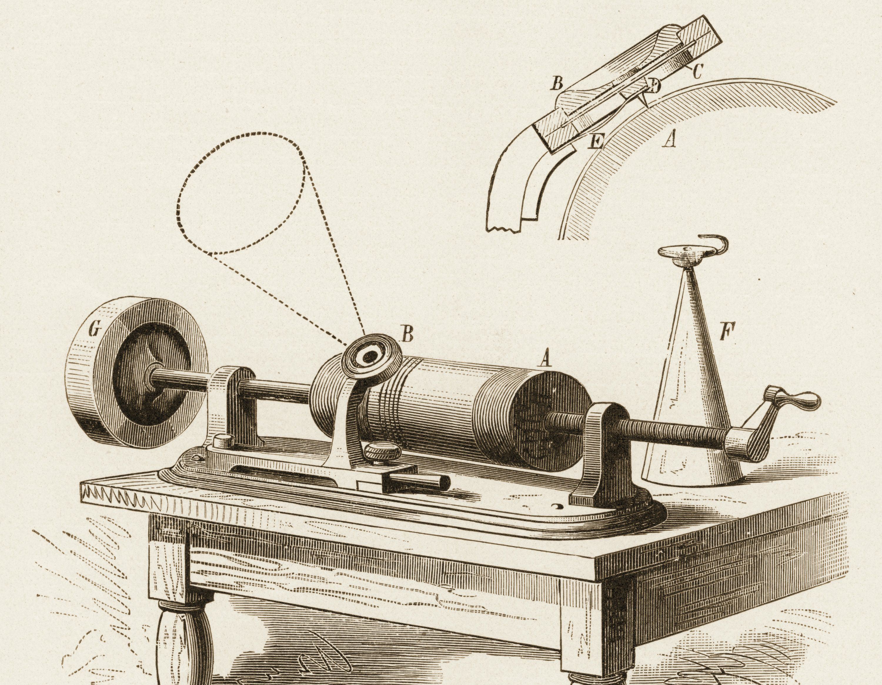 Drawing of an early Edison phonograph.