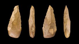 Close up of multiple views of acheulean handaxe.