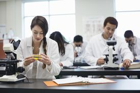 Students with microscopes in science lab.