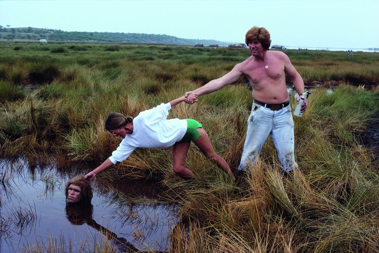 "Quicksand can be deadly, but the reality is different from the movies. Here, in the quicksand scene from 1980's ""Quest for Fire"", American actor Everett McGill (left) is actually in a pond. (You'd only sink up to your waist in quicksand)"