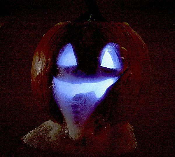 This Halloween jack-o-lantern contains dry ice.