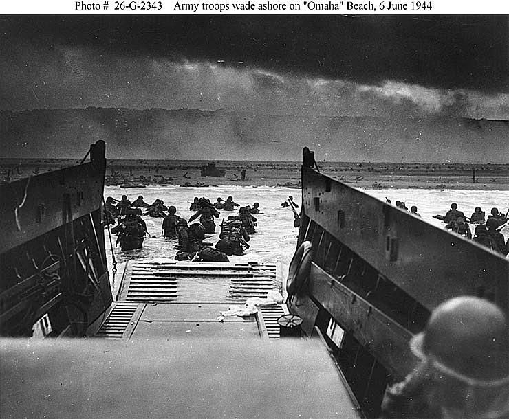 Army Troops Wade Ashore on Omaha Beach - D-Day - June 6, 1944