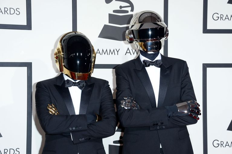 Daft Punk on the red carpet at the Grammy Awards.
