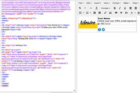 An HTML signature (right) with HTML code (left)