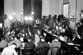 Photograph of HUAC hearing with actor Gary Cooper