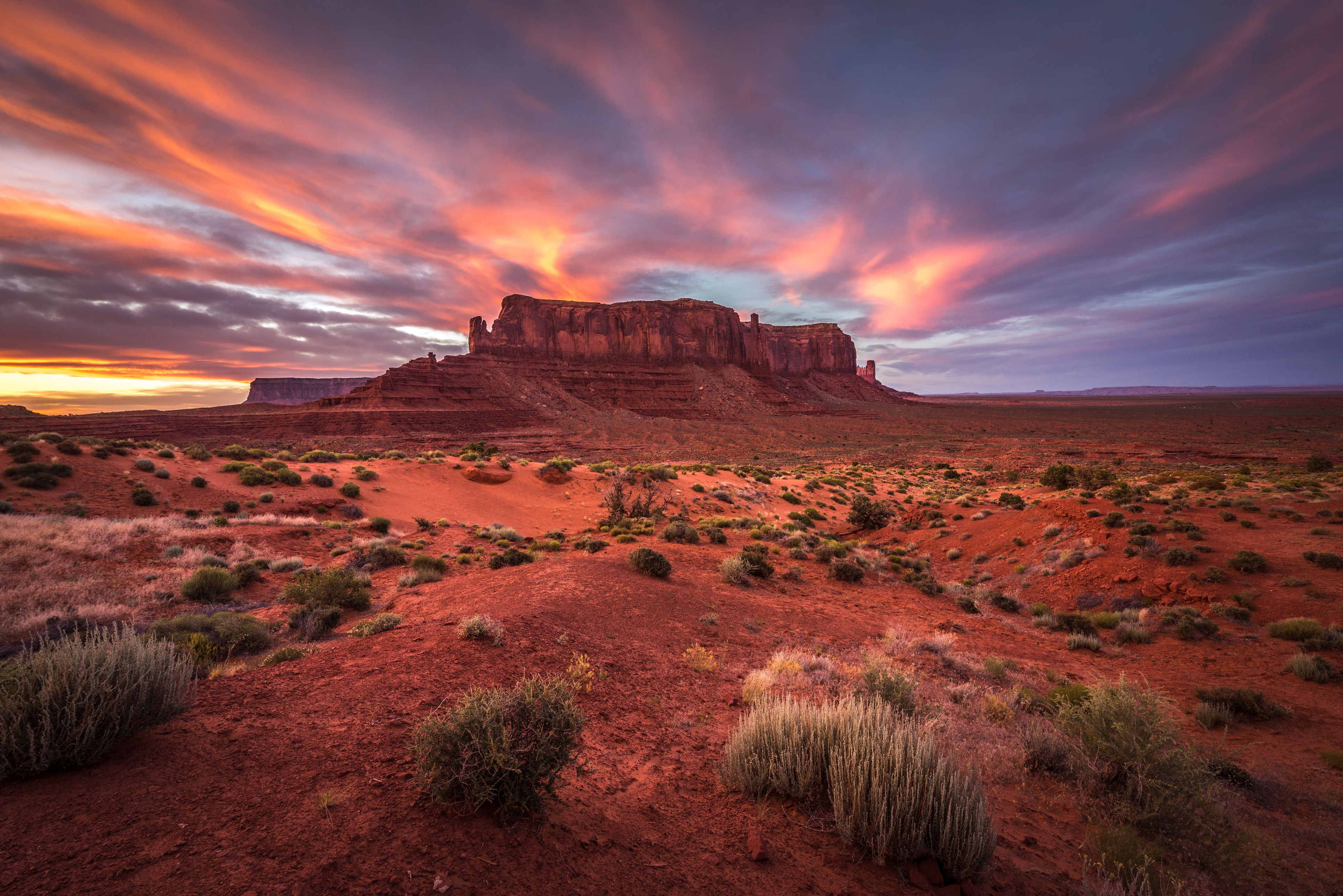 Sunset over Sentinel Mesa, Monument Valley, Arizona.