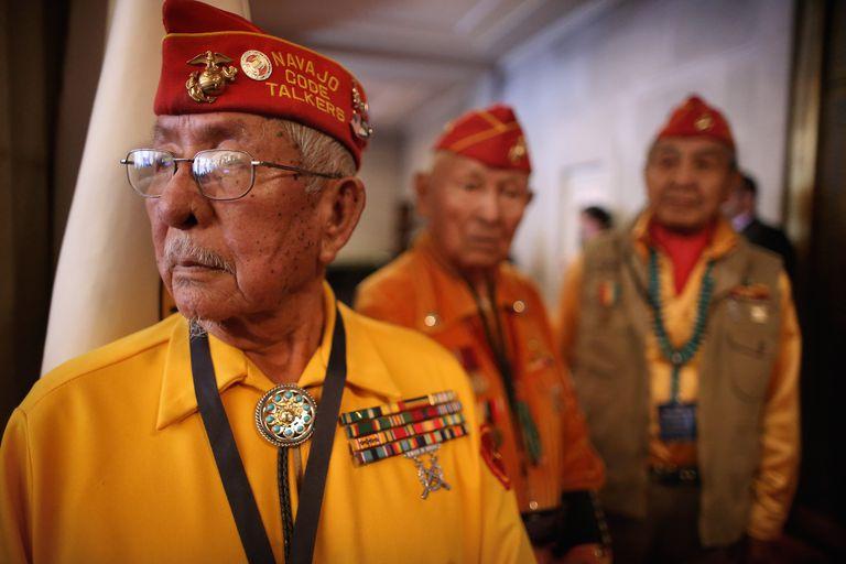 Members of the Navajo Code Talkers Association (L-R) Bill Toledo, George James Jr. and Peter MacDonald Sr.