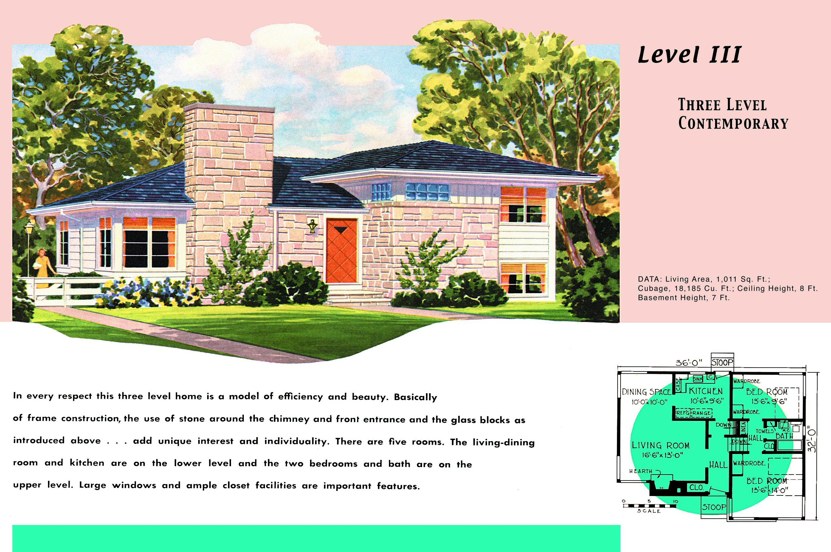 1950s floor plan and rendering of ranch style house with two levels and a basement