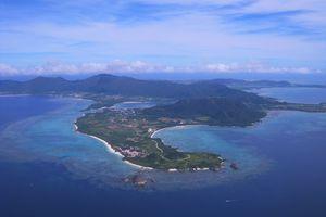 Okinawa landmass as seen from a distance.