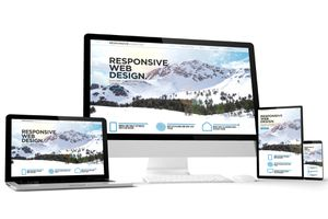 The same website shown on 4 different sized devices