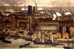 Color sketch of a busy wharf during the industrial revolution.