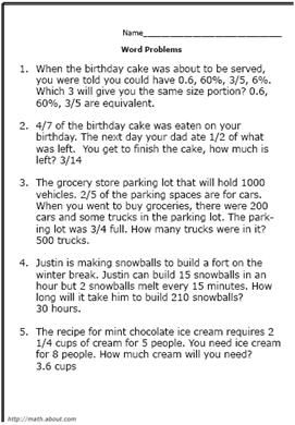 Cake Fraction Word Problems