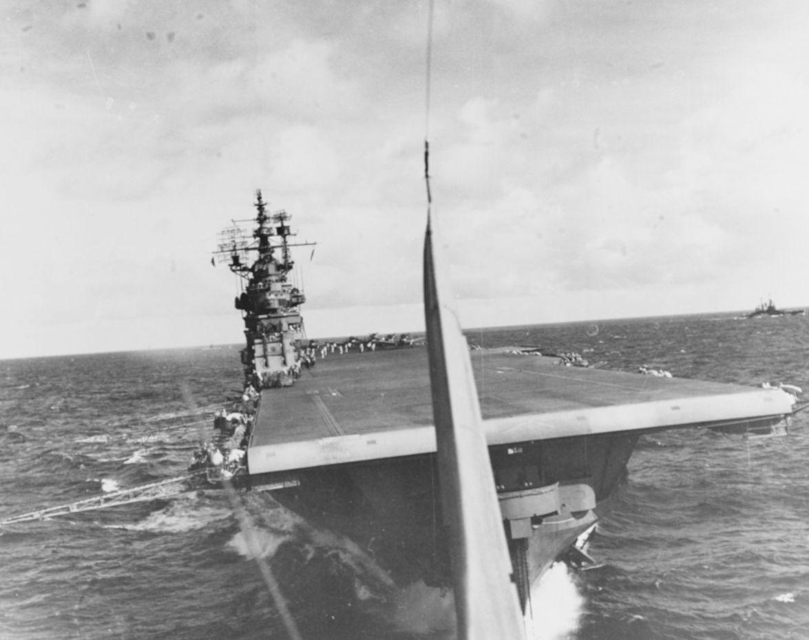 Bow view of aircraft carrier USS Lexington (CV-16)