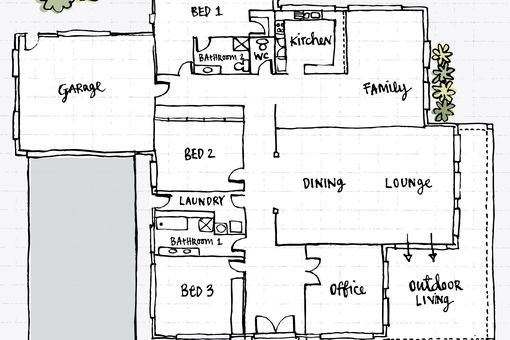 The hand drawn floor plan of a house features a garage, bedrooms, family room, dining/lounge, office, and outdoor living area